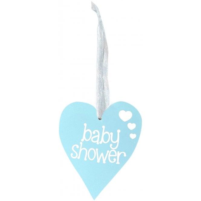 OAKTREE UK LTD Baby Shower Wood Heart Blue - Hanging ...